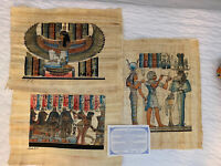 "Original Art EGYPTIAN PAINTING ON Egyptian PAPYRUS Set of 3 13"" x 17"""