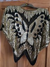 Vintage gold sequin butterfly top size M