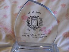 More details for ww2 glass saint omer 1944-1994 commemorative decorative placque,display,french