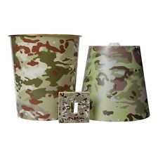 3 Pieces Kids Army Multi Terrain Camo Camouflage Bedroom Accessories Kit Set New