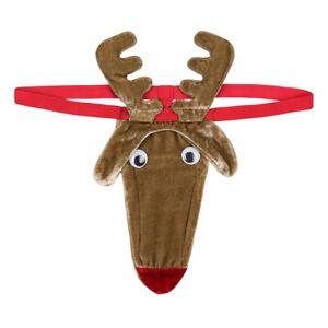Mens Reindeer Bulge Pouch Thong T-back Xms G-string Bikini Underwear Underpant