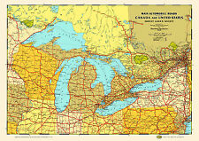 Great Lakes States Provinces 1930 Map Poster Vintage Canada Chicago Detroit