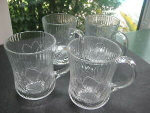 Set of 4 Arcoroc  'Canterbury Crocus' Glass Coffee / Tea Cups Mugs