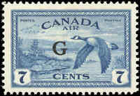 "Canada Mint NH 1950 F-VF Scott #CO2 7c Overprinted ""G"" Air Mail Stamp"