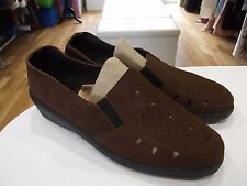 Size 7.5 Wapiti Shoes in Chocolate Brown Suede Slip on Style with Small Wedge