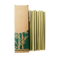 12Pcs Reusable Bamboo Drinking Straws Party Home Tableware And Cleaning Brush