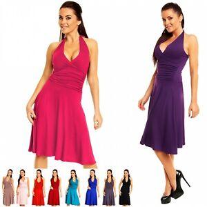 Zeta Ville - Women's Ruched Waist Flattering Sleeveless Halterneck Dress - 145z