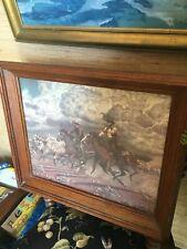 Large Framed Vintage Western Print of Cowboys in STAMPEDE -LONGHORNS
