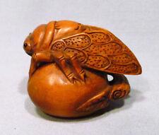 "1940's Japanese Boxwood Wood Netsuke ""Cicada"" Figurine Carving C02"