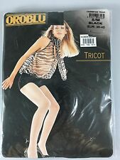 Oroblu S/M Black Fishnet Stockings Pantyhose Tights Tricot Made in Italy NEW