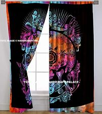Skull Mandala Curtains Indian Tie Dye Tapestry Hippie Door Valances Window Set