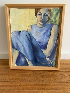 BEAUTIFUL ORIGINAL PAINTING GIRL IN BLUE FROM PORTUGAL