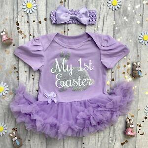 BABY GIRL EASTER TUTU ROMPER, Silver Glitter Bunny, Newborn My 1st Easter Gift