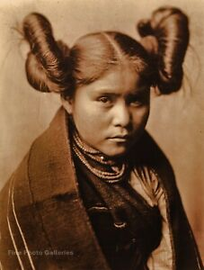 1905 EDWARD CURTIS American Indian Tewa Girl Hopi Hair GOLDTONE Photo Art 11x14