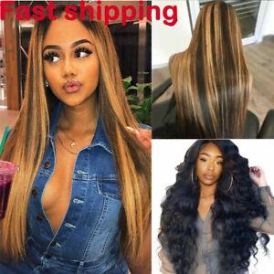 Women Long Straight Wig Brazilian Full Lace Glueless Human Hair Cosplay Wigs UK