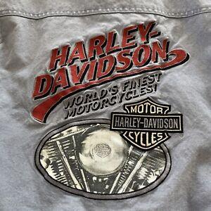 Vintage Harley Davidson V-Twin Varsity Embroidered Jacket Blue Duck Cloth Mens L