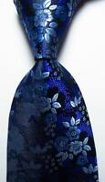 New Classic Floral Blue Purple Black JACQUARD WOVEN 100% Silk Men's Tie Necktie