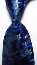 New Classic Floral Blue Purple Black JACQUARD WOVEN 100% Silk Men's Tie Necktie