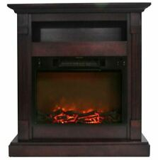 Cambridge Sienna Fireplace Mantel with Electronic Fireplace Insert, Mahogany