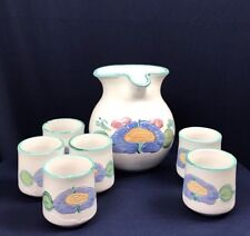 Pottery Pitcher with 6 Cups Water Or Juice Flower Design Hand Painted Glazed.