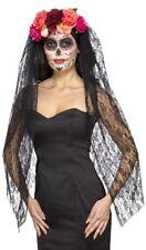 Ladies Giorno dei Morti Halloween Carnevale Velo Costume Copricapo Cappello
