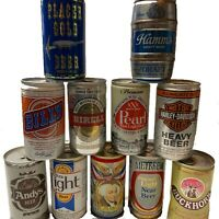 Empty Pull Tab Beer Cans Collectible Harley Davidson Can Included Lot of 11