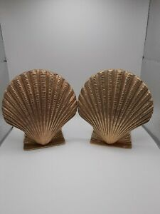 Pair Vintage Solid Brass Shell Bookends Clam Scallop Beachy Decor Nautical