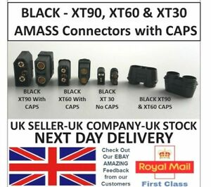 AMASS Black XT90 XT60 XT30 Battery Connectors Male Female Pair & Caps RC UK Lipo