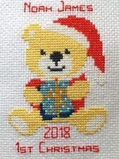 Bebé 1º Navidad Teddy punto de cruz kit por Florashell para niño o niña