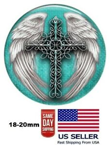 Snap Jewelry Cross Angel Wings Enamel 18-20mm Fits Ginger Charms Accessories