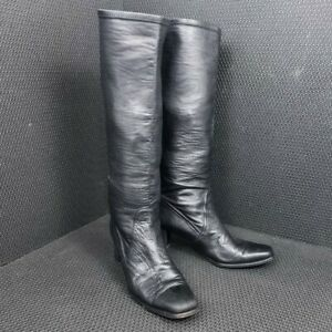 Stuart Weitzman Knee High Boots Women's Leather Square Toe Black Size 9 M
