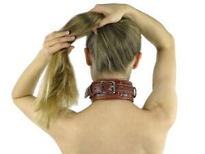 Bondage Halsband gepolstert und abschließbar braun leder BDSM Ring der O Nr.3094