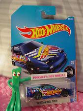 '96 NISSAN 180SX TYPE X #225✰blue;gray pr5✰HW RACE TEAM✰2017 i Hot Wheels case K