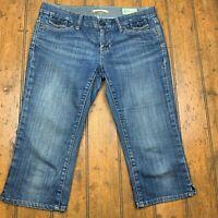 Gap Womens 27/4 Crop Capri Jeans Blue Medium Wash Denim Stretch Vented Hem Pants