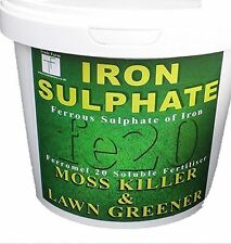 Tradefarmni Moss Killer Iron Sulphate 1kg Tub Lawn Feed and Conditioner 200 - 500 Sq.m