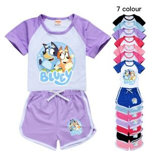Bingo Bluey Kids Short sleeve Casual T Shirt Top+Shorts Boys Girls Pyjamas Set
