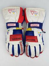 New listing Vintage Saranac Ski Gloves Racing White Red Blue Fleece Lined B-4 Mens Size S