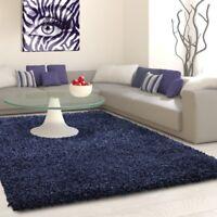 Fluffy Shaggy Rug Plain Navy Blue Bedroom Carpet New Modern Deep Pile Woven Mats