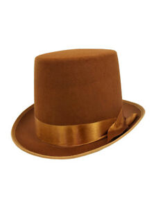 Steampunk Brown Tan Tall Bell Hop Topper Victorian Willy Wonka Costume Top Hat