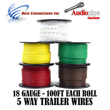 Trailer Wire Light Cable for Harness 5 Way Cord 18 Gauge - 100ft roll - 5 Rolls
