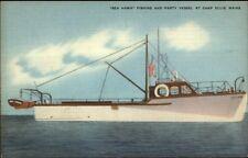 Camp Ellis ME Fishing & Party Boat Sea Hawk Linen Postcard