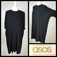 Asos Black Ribbed Oversized T-shirt Jersey Dress Dropped Shoulders Size 10 NWT