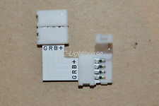 "5050 RGB 4 PIN ""L"" Connector for LED Light Strips Right Angle 1pc with Clips"