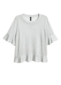 New H&M Woman Silver Top Viscose Blend & Glittery Threads W/ Short Sleeves Size