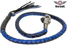 """42"""" Long Genuine Hand-Braided Leather Black & Blue Get Back Whip For Motorcycles"""