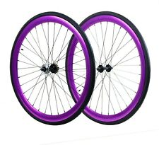 Fixie Flip-Flop Track 700c x45mm Deep F&R Wheel Set w Tire & Tube Purple Anod