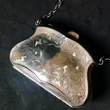 1920 English Chester Solid Silver, Kid Leather Lined Purse, Chain Handle, 58.48g