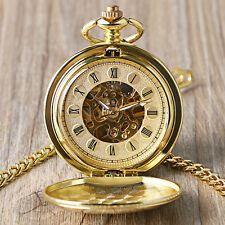 New Double Hunter Skeleton Gold Roman Numerals Mechanical Hand Wind Pocket Watch