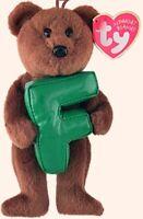 """TY Alphabet Beanies Letter F  Bear 6""""...NEW"""