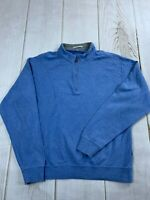 Peter Millar Mens 1/4 Zip Mock Neck Long Sleeve Blue Sweatshirt Size Large